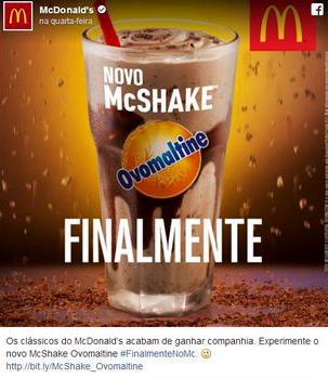 Finalmente Milk-shake de Ovomaltine